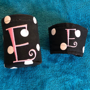 """Can & Cup Coozie set, Black & White w Pink """"E"""""""